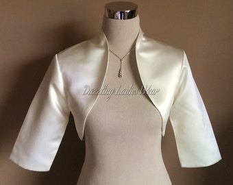 Ivory Satin Bolero Fully Lined 3/4 Sleeves / Shrug / Jacket / Shawl - UK 4-26/US 1-22