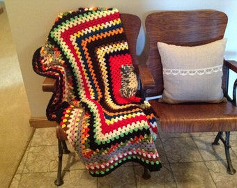 Vintage Crocheted Afghan Throw Blanket Granny Square