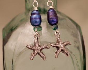 Beachy Starfish With Cobalt Blue Freshwater Pearl Earrings - FREE SHIPPING