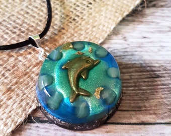 Aventurine Orgone Energy Pendant - Heart Chakra Healing Lightworker Jewellery - Positive Energy - Empath Jewelry - Dolphin - Medium