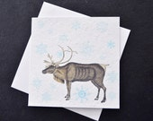 Majestic Deer with Blue Snowflakes Falling / Eco-Friendly Plantable Seeded Card