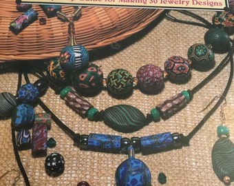 Vintage 1994 booklet by Janet Kruk - How To String Clay Beads