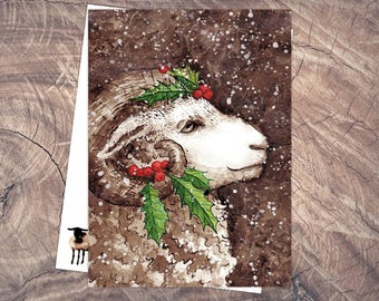 Sheep in snow-double card Christmas-eco-winter, sheep-A6 folding card, climate neutral