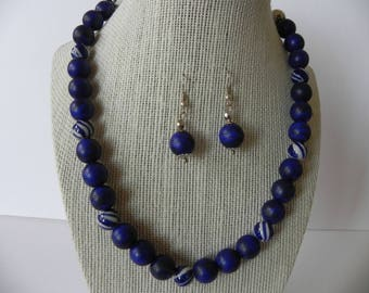 Lapislazuli necklace, blue gemstone necklace, lapis earring, set, beaded 15mm, gift for her, women necklace, accesories