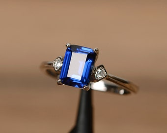 Blue sapphire ring engagement ring September birthstone ring silver wedding ring