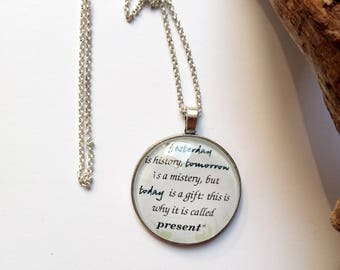 Necklace with phrase, jewel with writing, pendant with cabochon, personalized necklace, gift idea, handmade, personalized gift