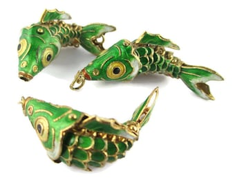 3 Cloisonne Articulating Fish Pendants / large Enamel wiggly Koi Fish / Antique Feng Shui Fish Pendants/ Green Gold Metal Fish