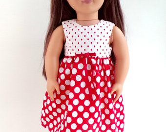 """Dolls Dress To Fit 18"""" Doll Red and White Polka Dot Cotton"""