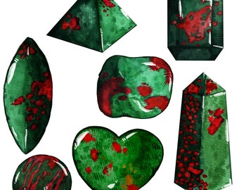 Bloodstone Crystal Sticker Pack   Last Updated 12/17   Magical Stickers Hand Made with Love