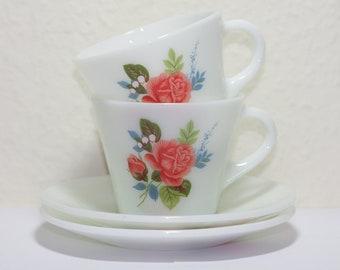 JAJ Pyrex Cottage Rose Tea Cups and Saucers, Vintage Pyrex, Floral pattern, Pink Roses