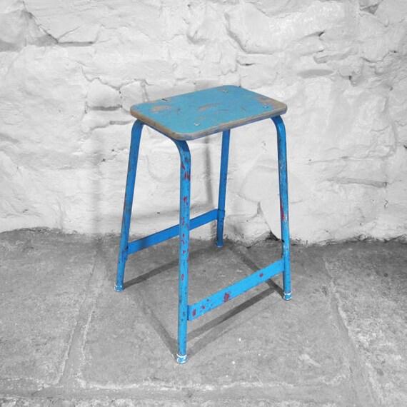 Industrial Lab Stool Blue Vintage Seat Plywood Steel 1960s