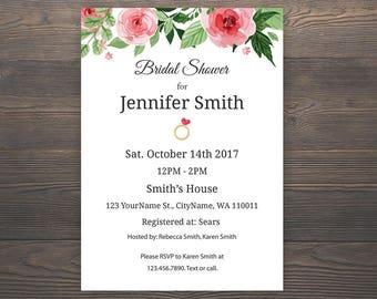 Bridal Shower Invitation, Floral Bridal Shower, Printable Bridal Shower Invite Card, Floral Bridal Shower Invite, Wedding Invitation, J003