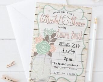 Mason Jar Bridal Shower Invitation / Digital Printable Birthday Invite for Wedding / DIY Shabby Chic Party