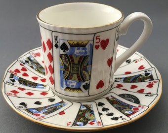 Eliazabethan Cut For Coffee Playing Cards Coffee Cup and Saucer.