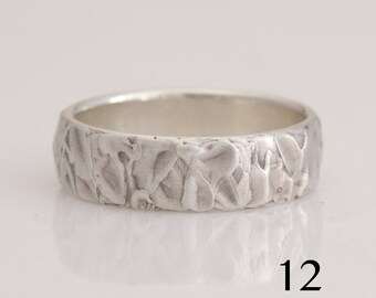 Heavily textured silver band, size 12 and custom sizes, #887.