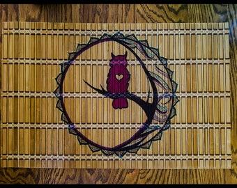 Hand Drawn Mandala on Bamboo Place Mat