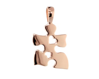Small Autism Awareness Puzzle Piece Charm with 2 Open Hearts in 14k Pink, Rose Gold 15mm