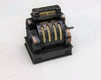 Vintage Miniature Metal Cash Register Pencil Sharpener * Mini Collectible * Cash Drawer Opens * Dollhouse Sized