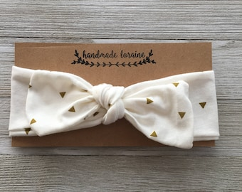 Gold Triangle Headband, Top Knot Headband, Baby Headband, Fall Headband, Christmas Headband, One Size Fits All, Toddler, Stretchy,Adjustable
