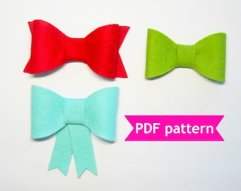 Felt bow pattern 3 shapes PDF sewing tutorial instructions bows for decor, hair clip, headband, brooch, bow tie, Christmas Wedding ornaments