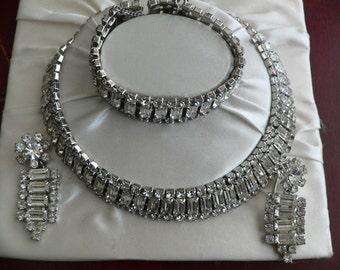 Vintage 3 pc Rhinestone Parure Set, Rhinestone Necklace, Bracelet, and Earings