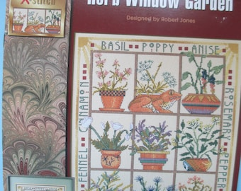 "Vintage Cross Stitch 1996 ""Herb Window Garden"" paper pattern booklet.  Used"