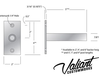 """Steel 4"""" Long 7/8"""" diameter post DIY Floating Shelf Bracket Pair - For Heavy oversize shelves measuring 2"""" - 6"""" thick."""