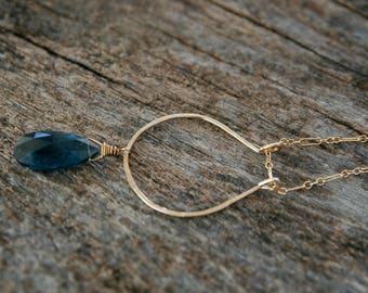 iolite necklace, gold iolite necklace, modern gold iolite necklace, horseshoe iolite, royal iolite, ckb creations, iolite briolette