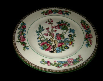 Antique  K T & K  (Knowles Taylor Knowles) China Early 20th century Oriental Floral pattern Porcelain - Set of Two Magnificent Plates