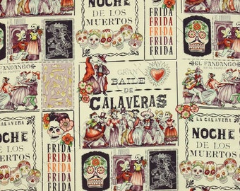 "Alexander Henry Premium Cotton Fabric by the yard in ""Baile de Calaveras "" print"