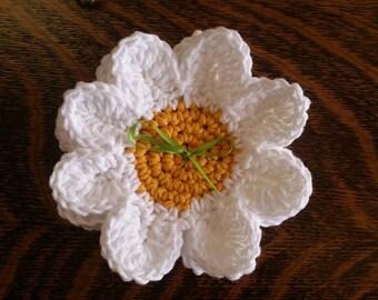 Hand Crocheted daisy coasters set of 4