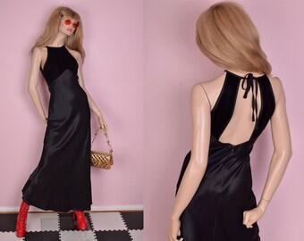 80s Black Velvet and Charmeuse Dress/ US 5-6/ 1980s/ Maxi/ Open Back