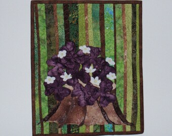 Oxalis quilted wall hanging, wall decor, fiber art, landscape quilt