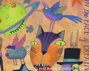 """Whimsical Card Crazy Cat and Nutty Friends """"Time Is Meaningless..In the Face of Creativity"""" Large Greeting Card Giclee Print - Outsider Art"""