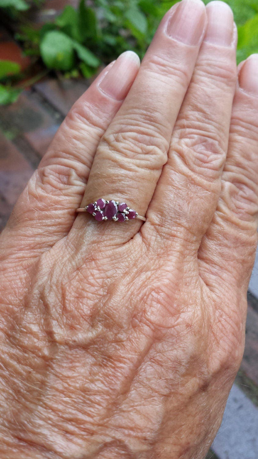 ruby ring size 8 1/2 1970\'s genuine natural UNHEATED