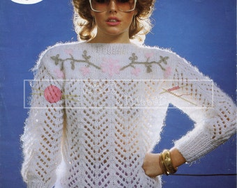 "Lady's Sweater 30-38"" Chunky Sirdar 6327 Vintage Knitting Pattern PDF instant download"