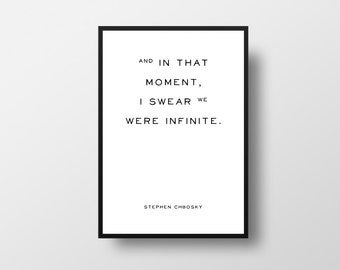 I swear we were Infinite, Stephen Chbosky, The Perks of, Being a Wallflower, Book Quote, Infinite, Wallflower, Life Quote, Inspirational