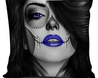 Calavera (Day Of The Dead / Dia De Los Muertos) Halloween Skull Design #4 Cushion / Pillow Cover (Eight Colors Available)