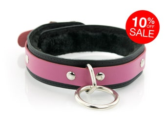 BDSM 1 Ring Slave Collar for Bondage Fetish - Faux Fur Lined - Premium Leather with O-Ring and Locking Buckle - Pink