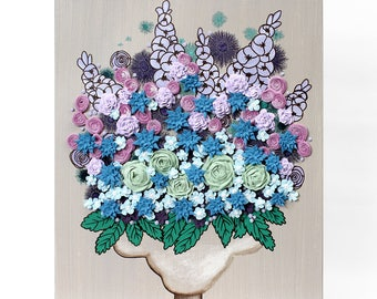 Sculpted Wall Art Painting Floral Still Life on Canvas - Blue and Purple Textured Flowers - 16x20