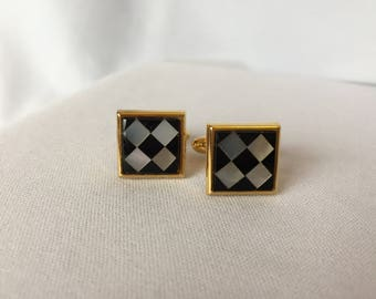 Vintage, Mother of Pearl and Black Glass Cufflinks, Square/Gold Tone