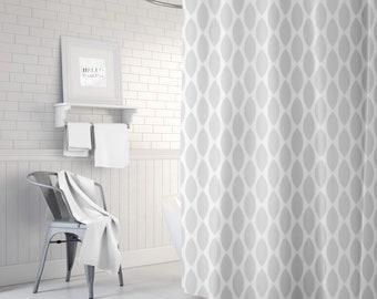 Gray Shower Curtain Ikat Bath Bathroom Decor Fabric Standard