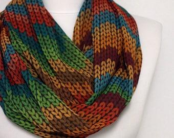 Chevron Knit Pattern, Chiffon Fabric Infinity scarf, Colorful Scarf, Circle scarf, spring - fall - summer - winter fashion Sale