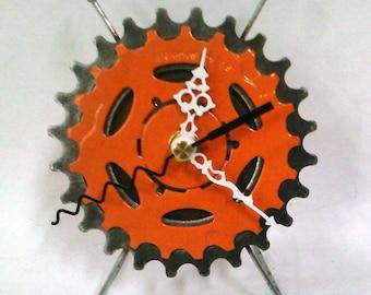 Recycled Bicycle Sprocket & Spoke Desk Clock - Orange
