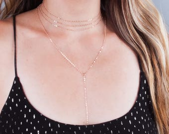Rose Gold Choker Necklace Set, Simple Y Lariat Necklace, Choker Chain Necklace, Necklace Set of 2, Layered Necklace Set, Multi Strand Choker