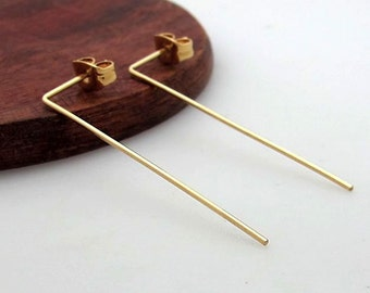 Gold Bar Earrings - Fashion Long Bar Earrings - Modern Jewelry - Minimalist Earrings - Skinny Bar Earrings - Gold Line earrings - Long Studs