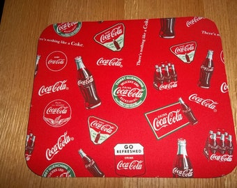 Mouse Pad, Coke, Coca Cola, Mouse Pads, Red, Desk Accessory, Office Decor, Handmade, Gift, MousePad, Rectangle, Mouse Mat, Computer Mouse
