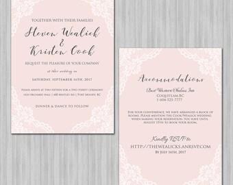 Lace Corner Wedding Invitation - Reverse Side -  Elegant - Callligraphy & Script - Minimalistic - Different Colors Available  - Printable
