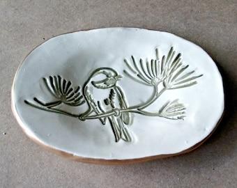 Ceramic Ring Dish OFF WHITE Sage bird edged in gold