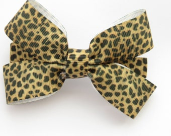 4 inch cheetah print bow - animal prints - French barrette bows - animal patterns - leopard spots - hair bows - leopard print bow - bows